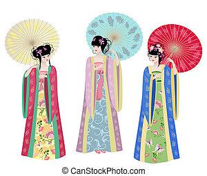 bonito, asiático, meninas, em, trajes