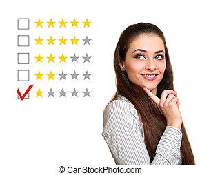 bonito, avaliação, mulher, um, mau, escolher, estrelas, feedback., resultado