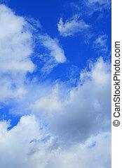 bonito, azul, atrás de, céu, nuvens