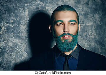 bonito, azul, barba, homem