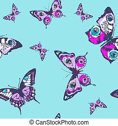 bonito, azul, borboletas, padrão