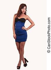 bonito, azul, cheio, jovem, comprimento, retrato mulher, vestido