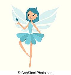 bonito, azul, dela, coloridos, equipamentos, danças, fada, vestido