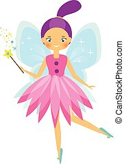 bonito, azul, estilo, magia, personagem, voando, duende, wand., wings., princesa fada, caricatura