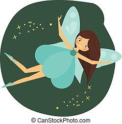 bonito, azul, estilo, winged, personagem, espalhar, voando, duende, wings., pixie, fantasia, princesa, menina, fada, caricatura, dust.