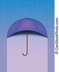 bonito, azul, guarda-chuva, proteção, -, chuva, vetorial