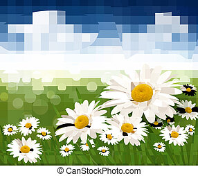 bonito, azul, illustration., sky., natureza, vetorial, fundo, flores