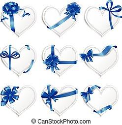 bonito, azul, jogo, heart-shaped, presente, bows., cartões