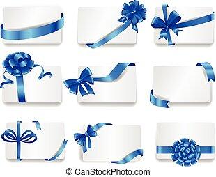 bonito, azul, jogo, presente, bows., cartões