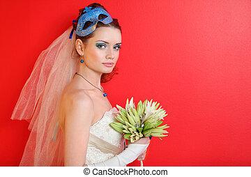 bonito, azul, lírios, maquilagem, penteado, buquet, segura, máscara, jovem, noiva, fundo, vermelho