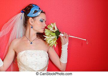 bonito, azul, lírios, penteado, buquet, maquilagem, máscara, jovem, noiva, inalações, fundo, vermelho
