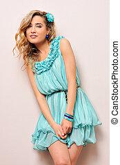 bonito, azul, loiro, vestido