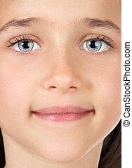bonito, azul, menina, olhos