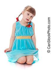 bonito, azul, menina, sentando, t, loiro, vestido, pigtails