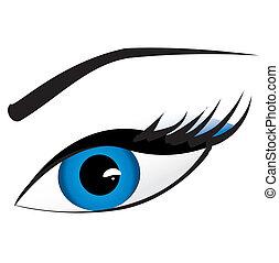 bonito, azul, mulher, ilustração, vetorial, eye.