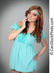 bonito, azul, mulher, jovem, isolado, dress.