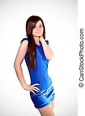 bonito, azul, mulher, moda, retrato, vestido