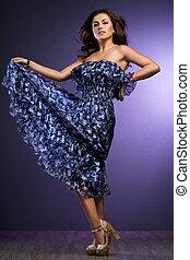 bonito, azul, mulher, vestido