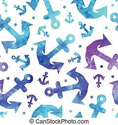bonito, azul, negócio, padrão, seamless, âncora, seu
