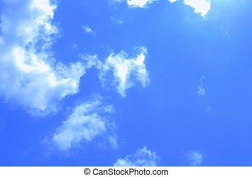 bonito, azul, nuvens, céu, minúsculo, branca