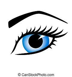 bonito, azul, olho mulher