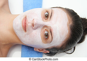 bonito, azul, olho mulher, máscara, jovem, facial, argila