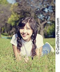 bonito, azul, olhos, morena, parque, verde, Retrato, menina, capim