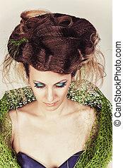 bonito, azul, penteado, moda, grande, pregos, longo, dress., mulher, verde, modelo, malha