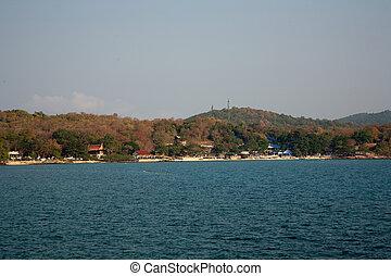 bonito, azul, romanticos, multa, céu, árvores, mar areia, ...
