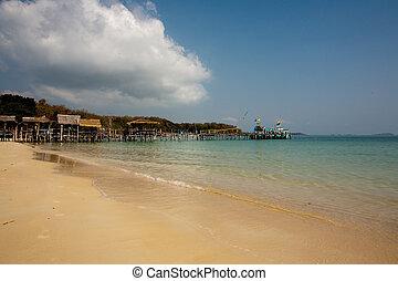 bonito, azul, romanticos, multa, céu, árvores, mar areia,...