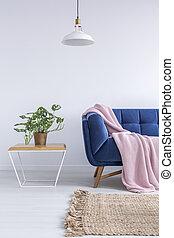 bonito, azul, sala, sofá
