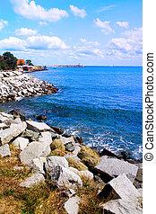 bonito, azul, seascape, -, costa, mar, pedras, céu