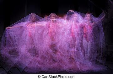 bonito, bailarina, arte, dança, foto, -, através, emocional,...