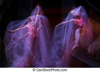 bonito, bailarina, dança, através, emocional, véu, sensual