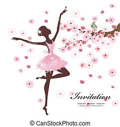 bonito, bailarina, flores