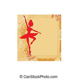 bonito, bailarina, grunge, fundo