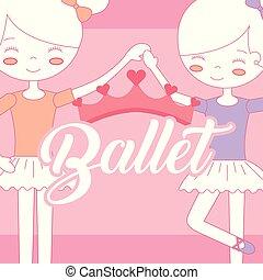bonito, bailarinas, balé, coroa, segurar passa