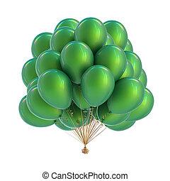 bonito, balão hélio, colorful., verde, partido, balões, grupo