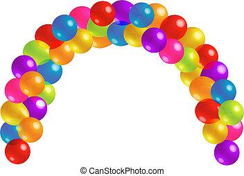 bonito, balloon, arco, com, lotes, de, transparência