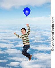 bonito, balloon, voando, céu, criança