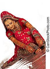 bonito, bangali, noiva, sentando