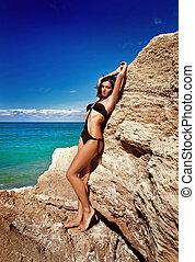 bonito, banhar-se, jovem, paleto, menina, praia