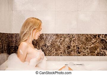 bonito, banheiro, mulher, jovem, suds
