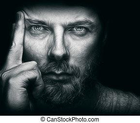 bonito, barba, olhos, homem, bonito