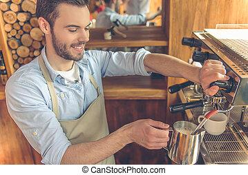 bonito, barista, em, café