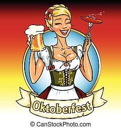 bonito, bavarian, menina, com, cerveja, e, fumar, linguiça