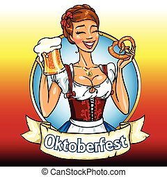 bonito, bavarian, menina, com, cerveja, e, pretzel