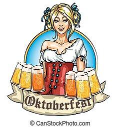 bonito, bavarian, menina, com, cerveja