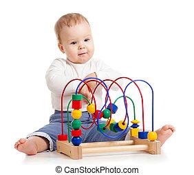 bonito, bebê, cor, brinquedo educacional
