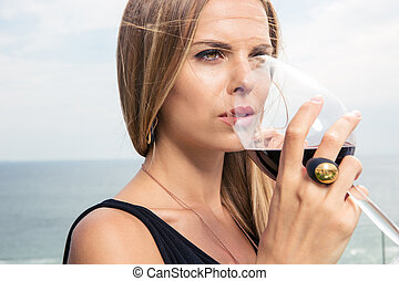 bonito, bebendo, mulher, vinho